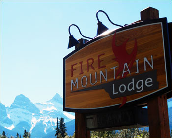 Fire Mountain Lodge Sign